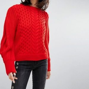 ASOS Red Cable Knit Sweater with Volume Sleeves